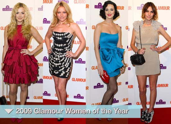 Red Carpet Style at 2009 Glamour Awards Photos of Katy Perry, Alexa Chung, Fearne Cotton, Estelle, Kylie Minogue