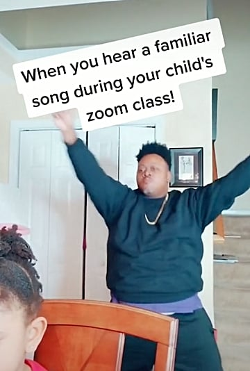 Dad Dancing to ABC Song in Kid's Remote Class | TikTok Video