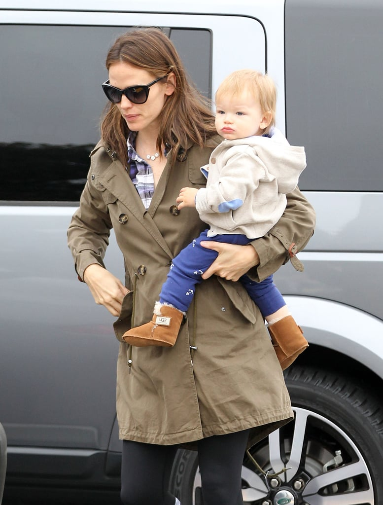 Samuel sported a cute pout for his morning outing with mom Jennifer Garner.