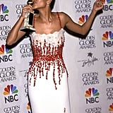 While Halle Berry kissed her statue after the show in 2000.