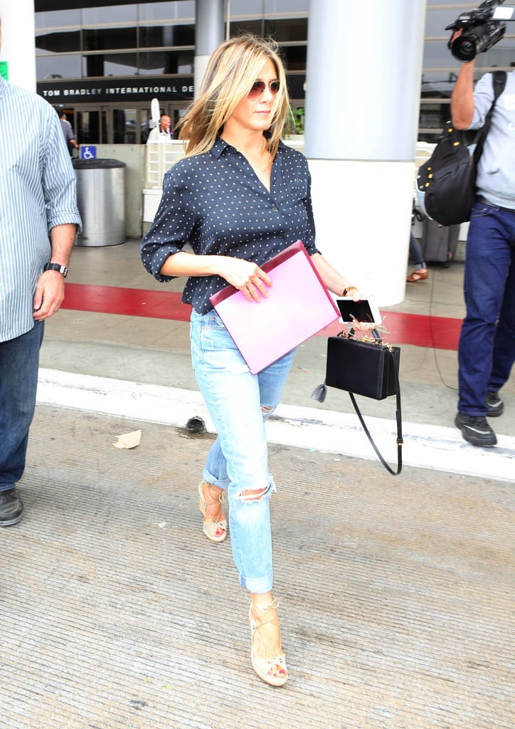 Jennifer Aniston Wedges At The Airport Popsugar Fashion