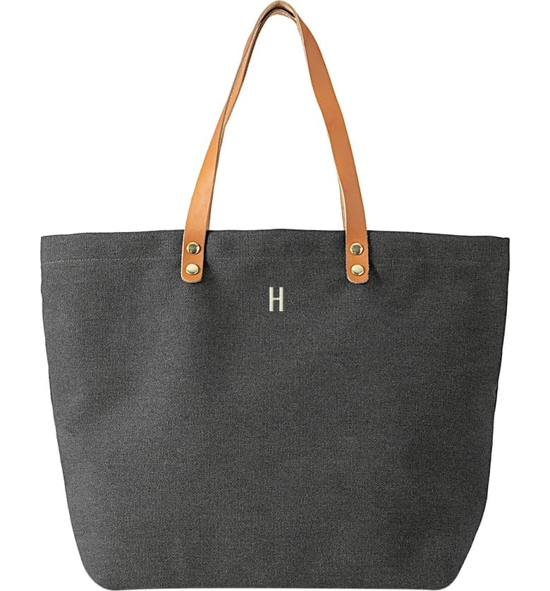 Cathy's Concepts Monogram Washed Canvas Tote