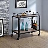 Acme Furniture Caitlin Rustic Oak and Black Serving Cart