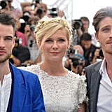Tom Sturridge posed with Kirsten Dunst and Garrett Hedlund at the On the Road photocall at the Cannes Film Festival.