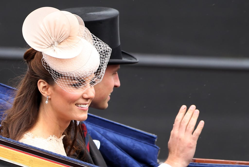 During the Diamond Jubilee carriage procession in 2012, Kate was seen wearing an orchid-like beige fascinator.