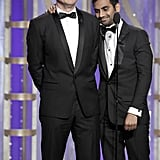 Aziz Ansari and Jason Bateman joked around together on stage.