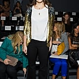 Mandy Moore jazzed up black pants with a sequined jacket at Jenny Packham.