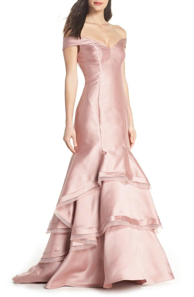 Xscape Off the Shoulder Ruffle Hem Mermaid Gown