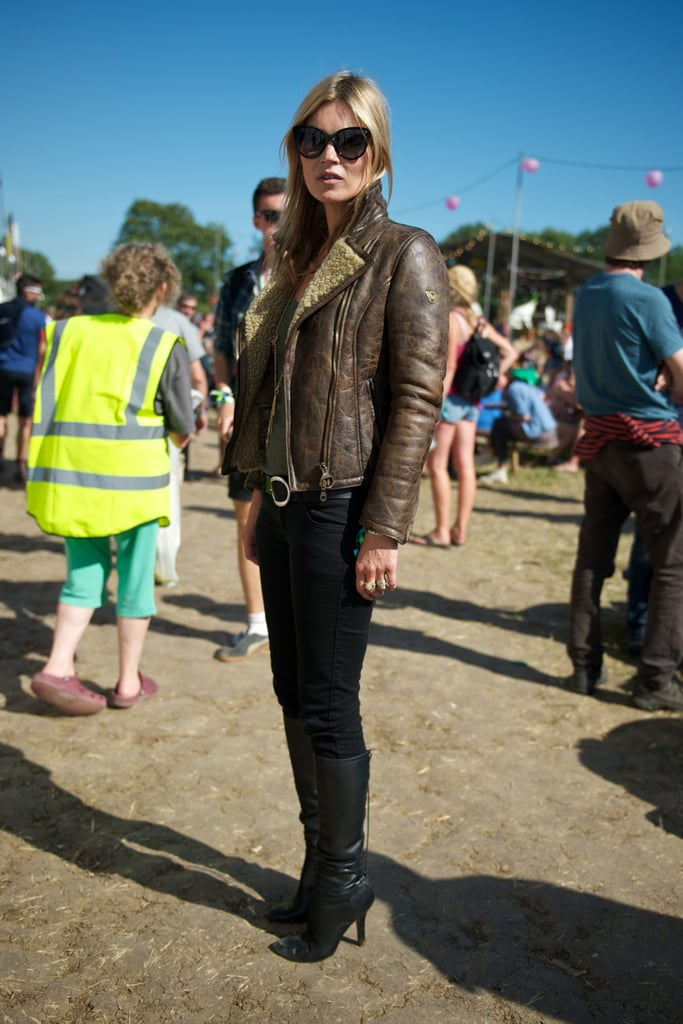 Kate Moss kept warm with a leather jacket.