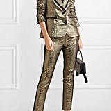 Rachel Zoe Grosgrain-Trimmed Metallic Suit