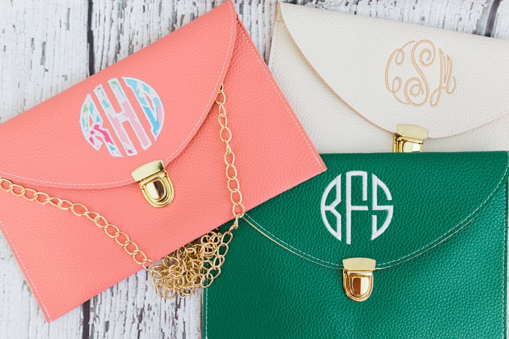Monogrammed Envelope Clutch