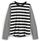 Black and White Stripe Long-Sleeved Tee