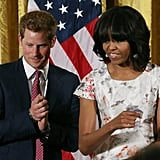 Prince Harry and Michelle Obama joined forces to honor military mothers at the White House in early May. For the occasion, the FLOTUS wore a gorgeous floral-print Prabal Gurung dress.