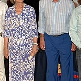Queen Sofía in a Printed Dress, August 2007