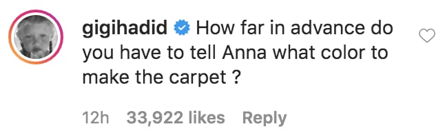 Gigi Hadid's Comment on Blake's Post