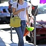 Rachel Bilson perfected Spring casual in a white tee and easy flares.