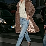Gigi Hadid wasn't worried about getting cold feet, she had her furry teddy coat to keep her warm.