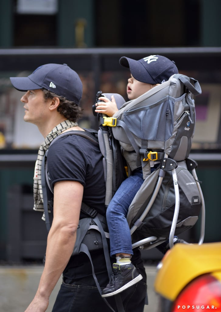 Orlando Bloom and his son, Flynn, wore coordinating baseball caps during a day out in NYC.