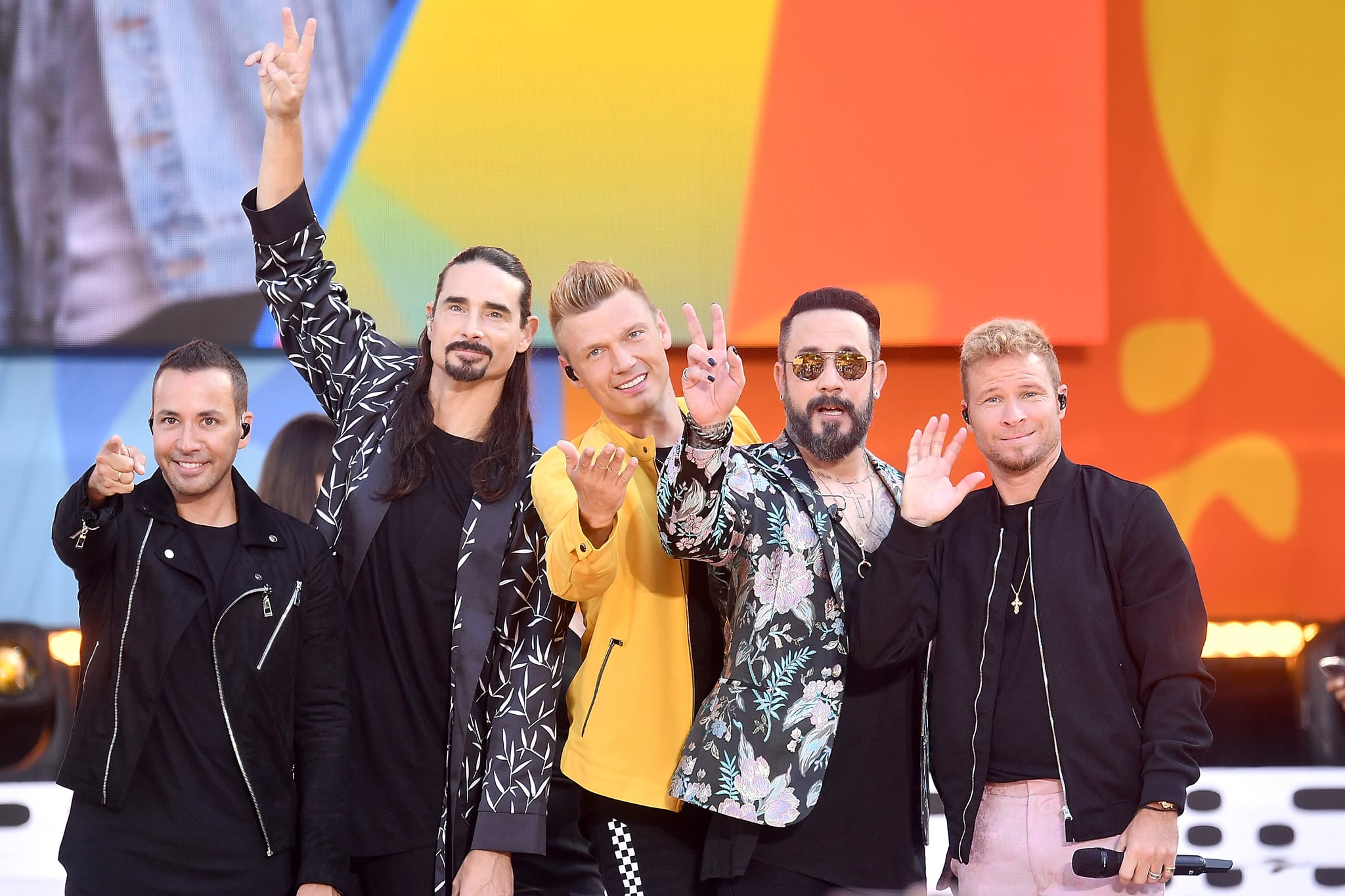 NEW YORK, NY - JULY 13:  (L-R) Howie D., Kevin Richardson, Nick Carter, AJ McLean and Brian Littrell of the Backstreet Boys perform on ABC's