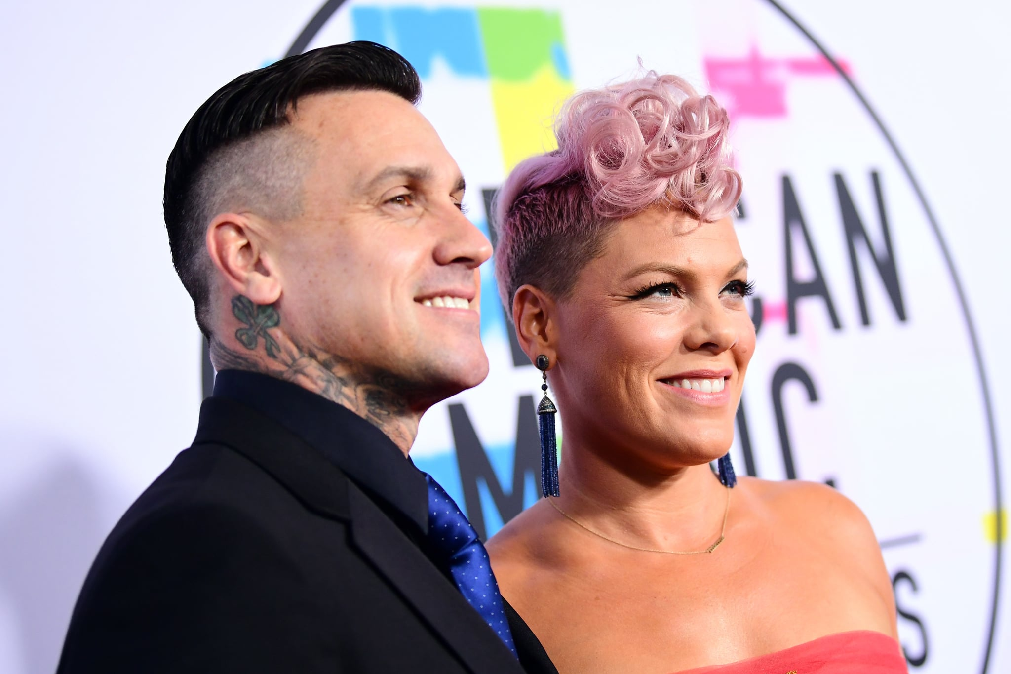 LOS ANGELES, CA - NOVEMBER 19:  Carey Hart (L) and Pink attend the 2017 American Music Awards at Microsoft Theatre on November 19, 2017 in Los Angeles, California.  (Photo by Emma McIntyre/AMA2017/Getty Images for dcp)
