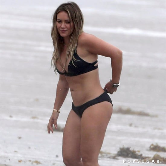 Hilary Duff Wearing Black Bikini in Malibu