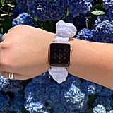 White Eyelet Scrunchie Watch Band