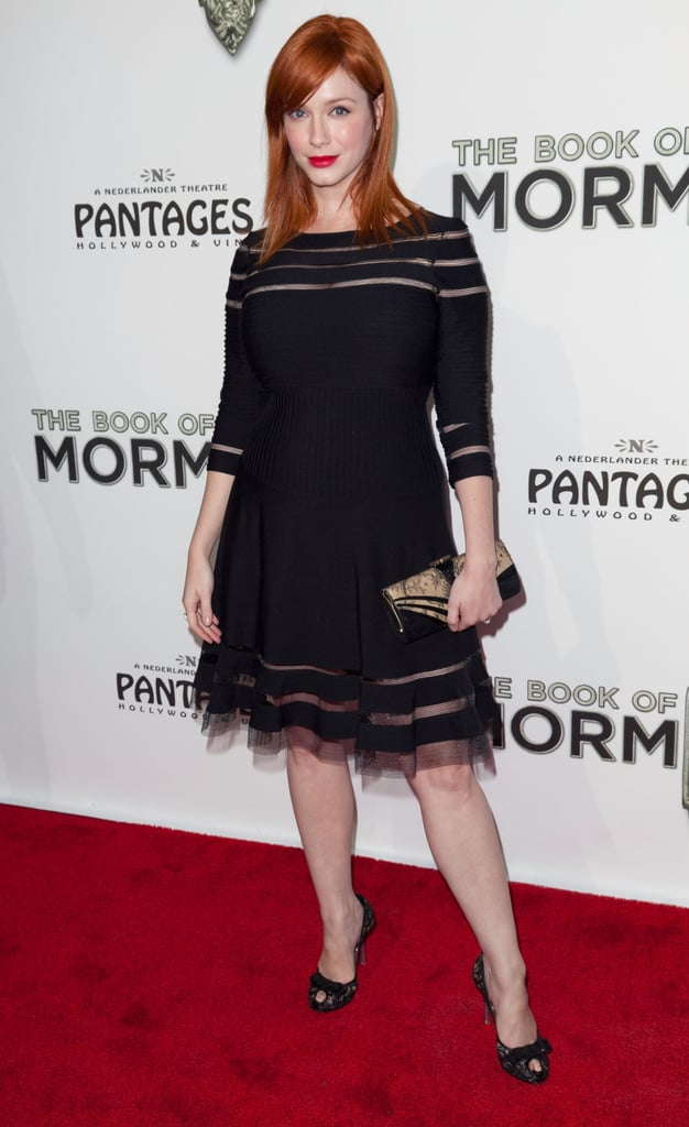 Christina Hendricks wore black for the opening gala of The Book of Mormon.