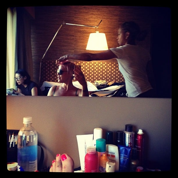 Pink snapped a photo while getting her hair done. Source: Instagram user pink