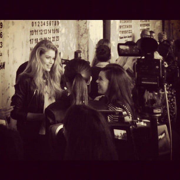 Doutzen Kroes mingles with media at an H&M event. Source: Instagram user doutzenkroes1