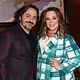 Ben and Melissa wore semicoordinated plaid outfits for a panel event in 2017.