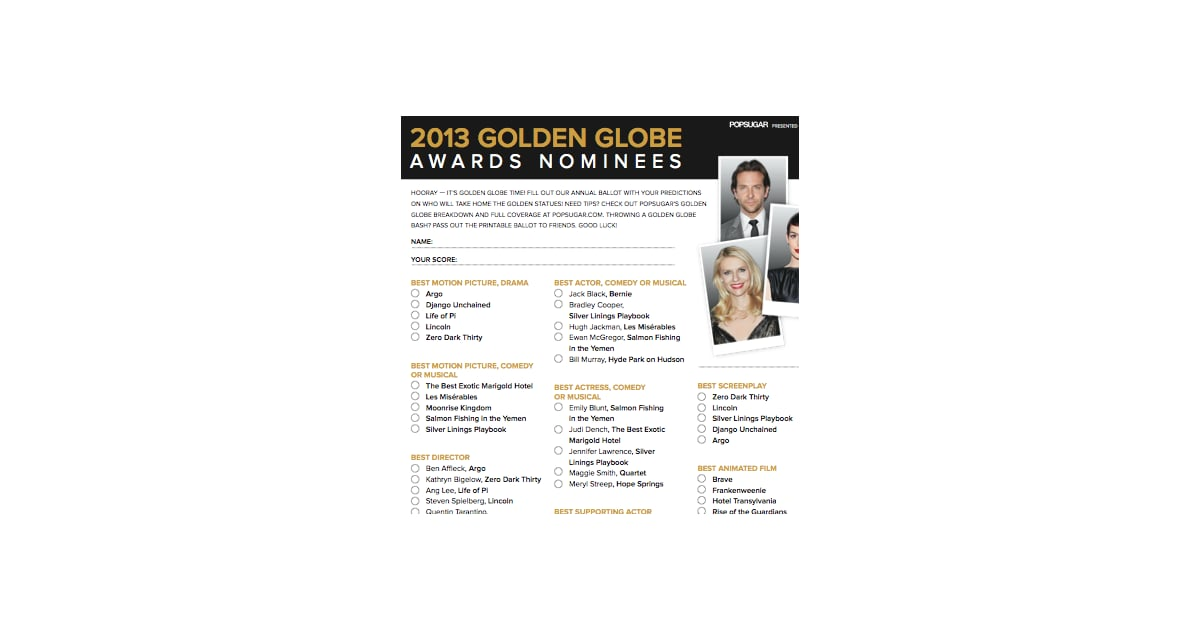 photograph regarding Golden Globe Ballot Printable titled Golden Globes Printable Ballot 2013 POPSUGAR Enjoyment