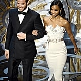 Chris Pine and Zoe Saldana presented an award at the 2013 Oscars.