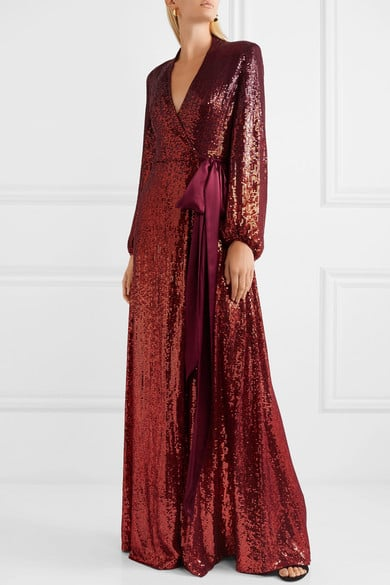 Jenny Packham Aries Satin-Trimmed Sequined Gown