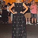"""ارتدت جيجي ثوباً محتشماً بطبعة """"نقاط البولكا"""" خلال حدث بارز في نيويورك عام 2014."""