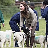 Kate Middleton Feeding a Lamb Pictures May 2017