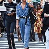 Merge two of your favourite trends this fall: jumpsuits and denim.