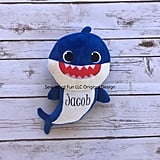 Personalized Blue Daddy Shark Plush Doll
