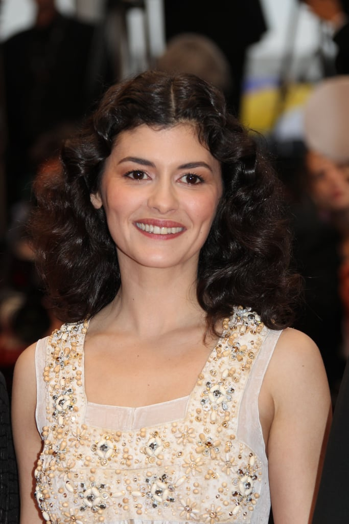 Check out the cool embellished details on Audrey Tautou's nude-toned bodice.