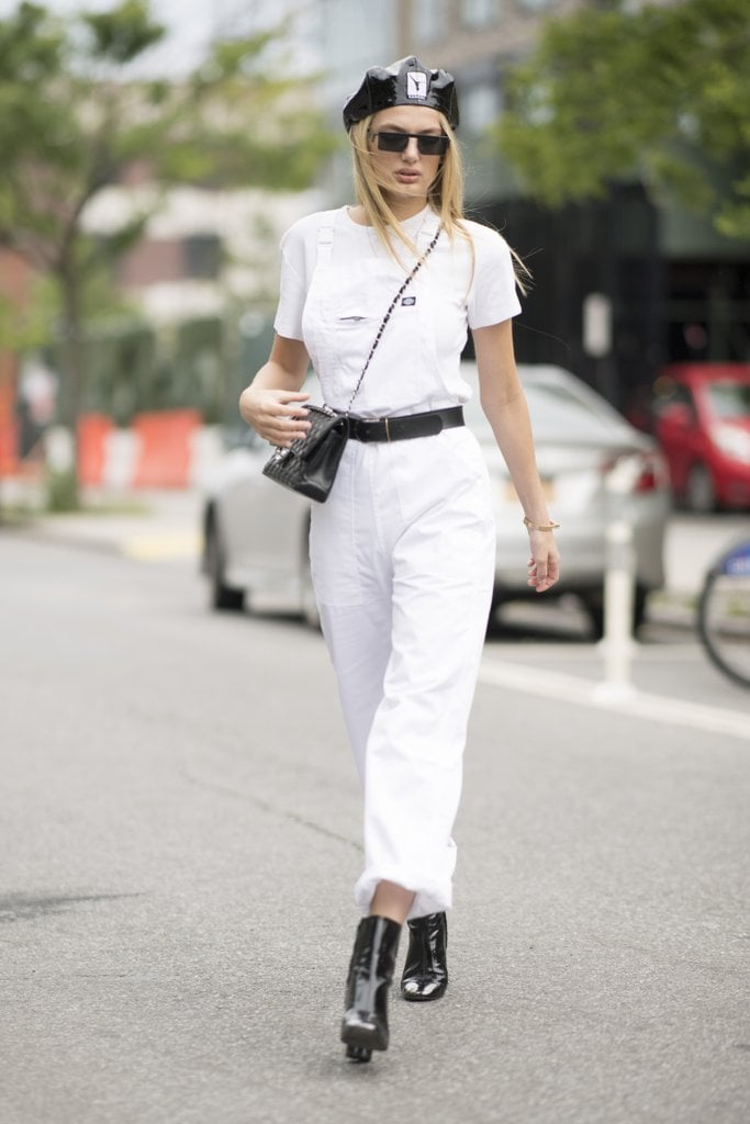 Complete an All-White Look With Black Accessories For a Cool Monochromatic Look