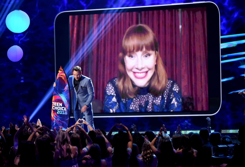 "Could Chris Pratt and Bryce Dallas Howard be any cuter? During the Teen Choice Awards on Sunday night, the Jurassic World stars put their sweet friendship on display as they took home choice Summer movie actor and actress. Though they couldn't be together in person, that didn't stop them from giving an adorable acceptance speech on stage, as Bryce tuned in via video chat. While Chris took a moment to thank God in his speech, Bryce gave a shout-out to her costar. ""The only thing better than running from dinosaurs is running from dinosaurs with Chris Pratt,"" she said. Aww! See the full video ahead."