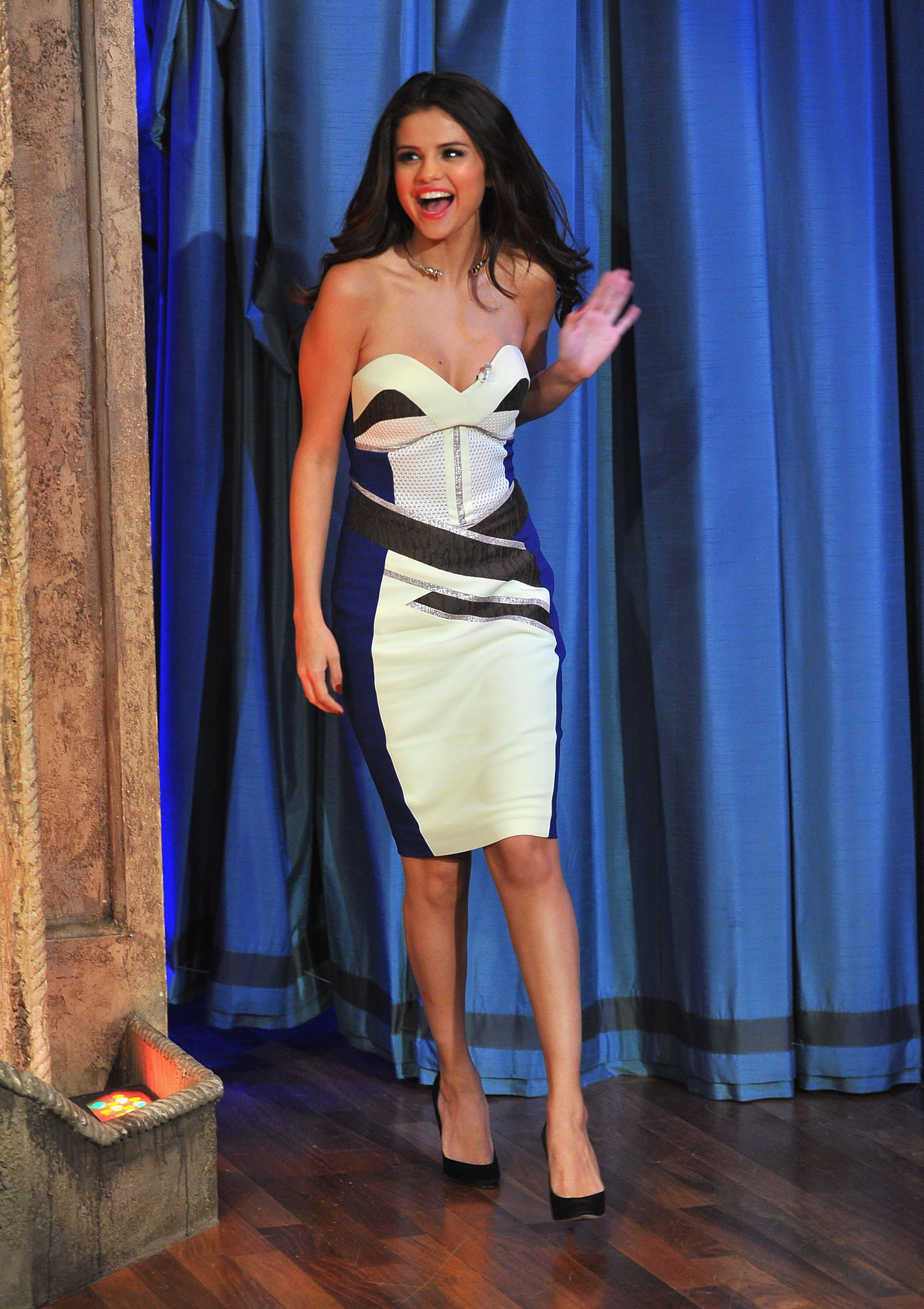 For her appearance on Late Night With Jimmy Fallon, Selena Gomez showed off her décolletage in a strapless Antonio Berardi dress and Brian Atwood pumps.