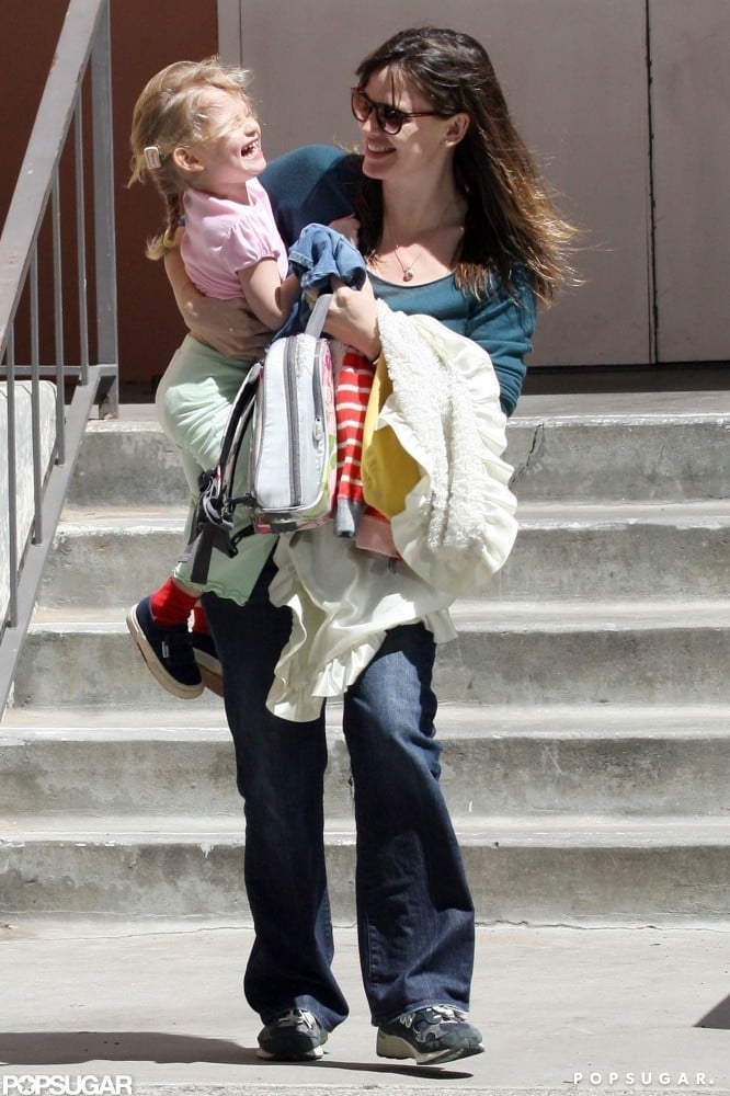 Jennifer Garner and Violet Affleck shared a laugh leaving her school in LA in March 2009.