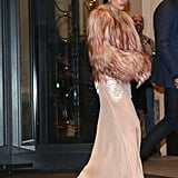 Gaga stunned in this gown and fuzzy coat by Francesco Scognamiglio.