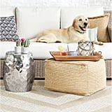 Natural Woven Outdoor Pouf