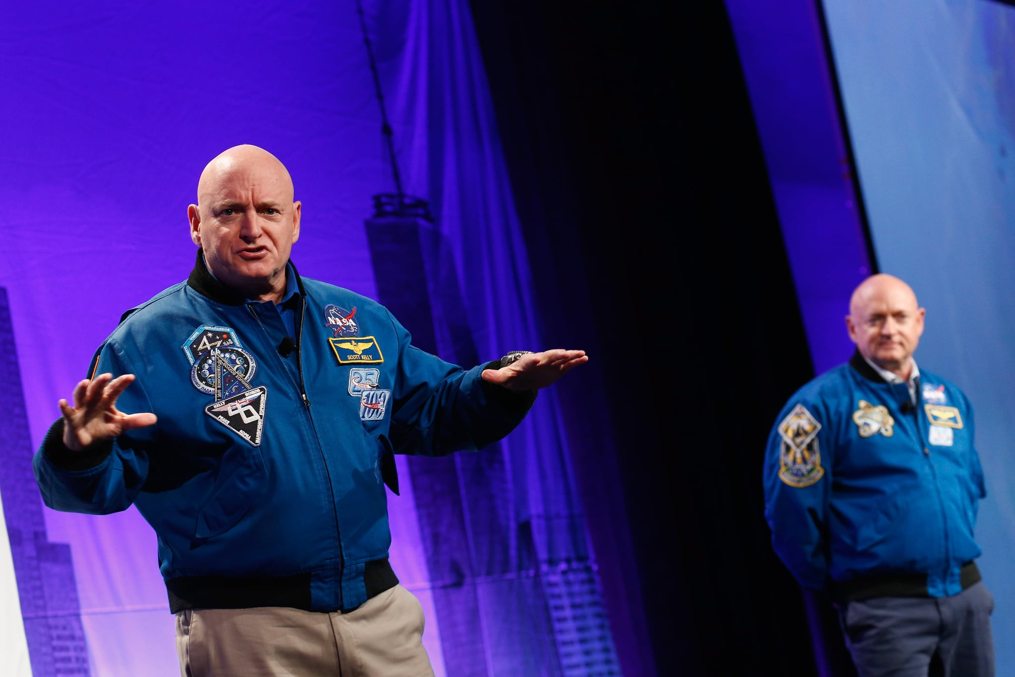 NEW YORK, NY - NOVEMBER 02:  Austronauts Captain Scott Kelly and Captain Mark Kelly speak on stage at LocationWorld 2016 Day 1 at The Conrad on November 2, 2016 in New York City.  (Photo by Brian Ach/Getty Images for LocationWorld 2016)