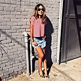 The striped tee and cutoffs make an easy go-to ensemble for any girl. But by slipping your feet into a sharp pair of leopard-print heels, your entire outfit gets a quick, unexpected update. Source: Instagram user sincerelyjules