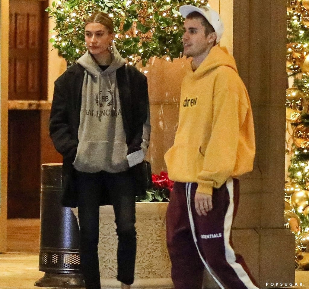 Hailey Baldwin and Justin Bieber Wearing Sweatshirts