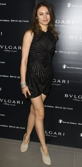 Actress Olga Kurylenko at Vogue/Bvlgari Charity Reception in Black Chevron Beaded Dress
