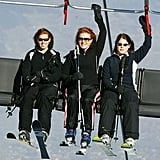 Sarah and her girls rode a ski lift during their holiday in Switzerland in 2004.