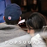 Mila kissed Ashton's shoulder during a dinner date in NYC in November 2012.